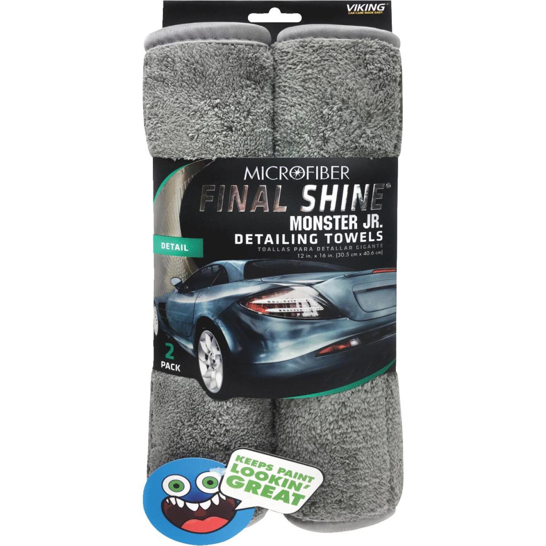 Viking Final Shine Monster Jr. 12 In. x 16 In. Gray Detailing Towel (2-Pack) Image 1