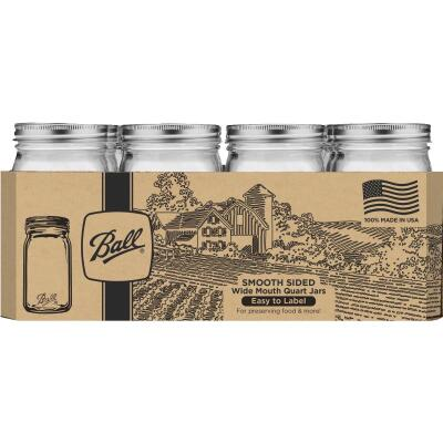 Ball Quart Wide Mouth Smooth-Sided Silver Lid Canning Jar (12-Count)