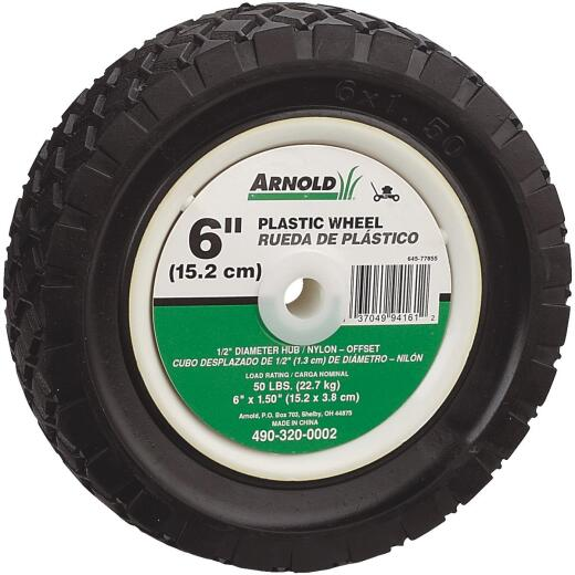 Arnold 6 In. Diamond Tread Offset Hub Wheel